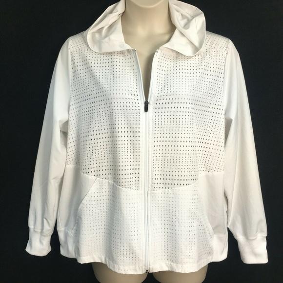 RBX Jackets & Blazers - RBX White Hooded Athletic Zipper Jacket